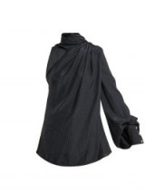HILLIER BARTLEY Asymmetric fringed-scarf silk-satin blouse ~ oh so chic!
