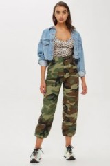 Topshop Authentic Camo Trousers in Khaki | cuffed camouflage pants