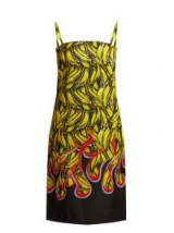 PRADA Yellow Banana and flame-print gabardine dress