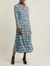 PRADA Banana-print blue and white striped shirt dress ~ classic design