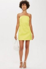 Topshop Bandeau Mini Dress in Yellow | strapless party frock