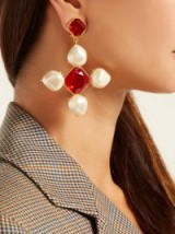 OSCAR DE LA RENTA Baroque faux-pearl and crystal drop earrings ~ large red and white crosses