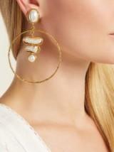 SYLVIA TOLEDANO Baroque mother-of-pearl hoop earrings ~ large statement hoops