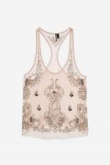 TOPSHOP Baroque Racer Vest Blush – sheer embellished tops