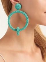OSCAR DE LA RENTA Turquoise Beaded hoop-drop clip-on earrings ~ statement hoops