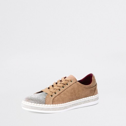 River Island Beige glitter lace-up trainers   sports luxe sneakers
