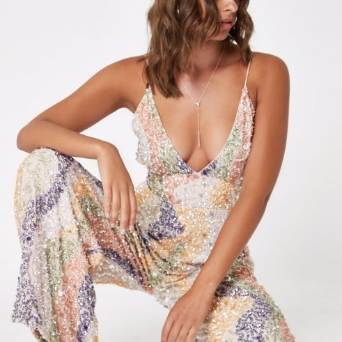 RIVER ISLAND Beige sequin embellished plunge jumpsuit – glitzy thin strap jumpsuits - flipped