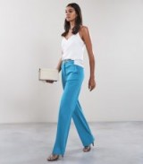 REISS BELLE TROUSER WIDE LEG TROUSERS BLUE ~ stylish day to evening pants