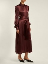 HILLIER BARTLEY Belted balloon-sleeve burgundy silk-satin dress