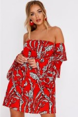 BILLIE FAIERS RED ABSTRACT FLORAL TIERED FRILL SLEEVE MINI DRESS – bardot summer fashion