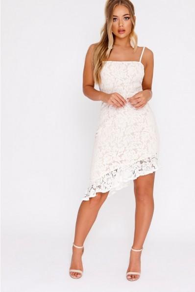 7ca52e0e09e5 BILLIE FAIERS WHITE LACE ASYMMETRIC FRILL MIDI DRESS – strappy party dresses