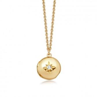 ASTLEY CLARKE Biography White Sapphire Locket Necklace | small round lockets