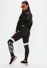 MISSGUIDED black ceo slogan high waisted slim joggers – sporty leggins