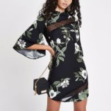 River Island Black floral lace trim swing dress | wide sleeves | open back