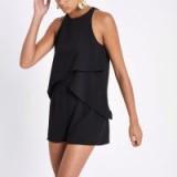River Island Black frill sleeveless playsuit | summer fashion