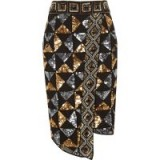 RIVER ISLAND Black geo sequin embellished pencil skirt – glamorous party fashion
