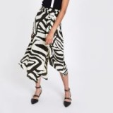 River Island Black zebra print asymmetric midi skirt | glamorous fashion