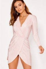 IN THE STYLE BLAZIE NUDE PLEATED WRAP DRESS ~ pale pink going out dresses