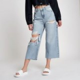 RIVER ISLAND Blue Alexa cropped wide leg ripped jeans – summer denim