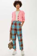 TOPSHOP Blue Check Trousers / bold checked pants