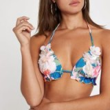 RIVER ISLAND Blue floral embellished triangle bikini top – summer holiday swimwear
