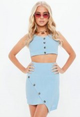 MISSGUIDED blue wrap front button through skirt – summer outfit