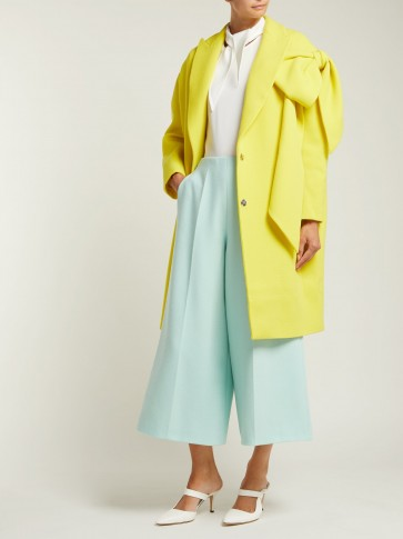 DELPOZO Bow-embellished yellow wool coat ~ statement clothing