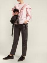 SIMONE ROCHA Bow-embellished grey wool trousers ~ feminine touch