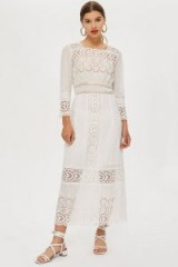 Topshop Broderie Insert Maxi Dress in Ivory | summer boho style