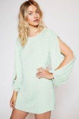 FREE PEOPLE Brooke Sequins Mini in Mint / light green slit sleeved party dress