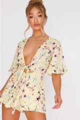 IN THE STYLE BRYANIE YELLOW FLORAL PLUNGE TIE FRONT PLAYSUIT ~ plunging summer fashion