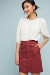 Amadi Buttoned Utility Skirt in Wine | dark red utilitarian fashion