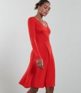 REISS CARINI SEAM DETAIL WRAP DRESS RED ~ wardrobe style essential