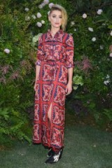 Amber Heard in a long red and navy printed shirt dress at Valentino Fall 2018, during Paris Couture Week ~ chic looks ~ effortless style