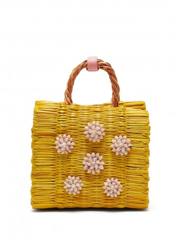 HEIMAT ATLANTICA Celeste yellow mini reed basket bag ~ cute little summer handbag