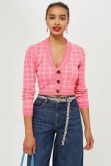 Topshop Pink Check Cropped Cardigan