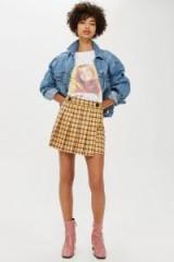 TOPSHOP Yellow Check Kilt Mini Skirt / checked pleats