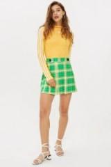 Topshop Check Kilt Mini Skirt in Green | retro looking fashion
