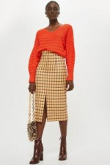 TOPSHOP Check Midi Skirt / yellow checks / front split