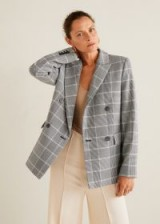 MANGO Check Structured blazer in Grey / checked jackets