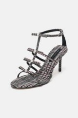 ZARA CHECKED FABRIC SANDALS / strappy check print heels