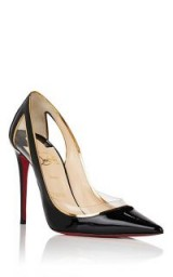 CHRISTIAN LOUBOUTIN Cosmo Black Patent Leather & PVC Pumps ~ clear plastic cut-outs & trim ~ chic courts