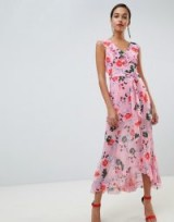 C/meo Floral Ruffle Midi Dress in pink