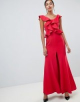 C/meo Structured Ruffle Maxi Gown in chilli – dramatic red party fashion