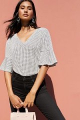 W5 Concepts Concord Flutter-Sleeve Top in Black and white | ruffle sleeved V-neck