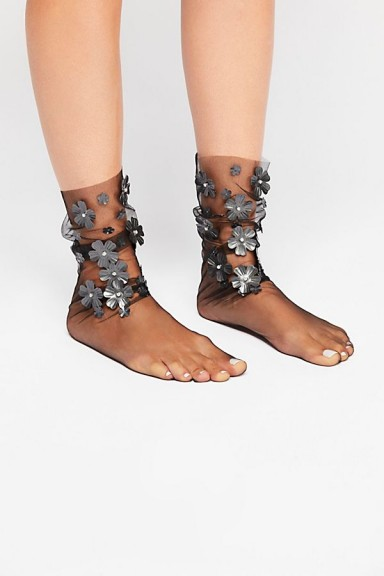 LIRIKAS BY LIRIKA MATOSHI Confetti Sheer Anklet in black / floral embellished socks
