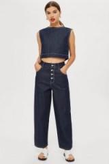 Topshop Boutique Contrast Stitch Jeans in Indigo | dark blue denim