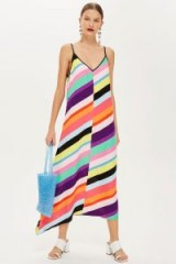 Topshop Contrast Stripe Slip Dress | multicoloured summer cami frock