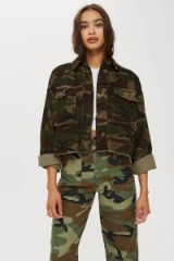 TOPSHOP Cord Camouflage Shacket / camouflage corduroy shackets