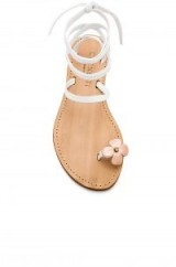 CoRNETTI FILICUDI SANDAL in White and Rose Gold | strappy summer floral flats